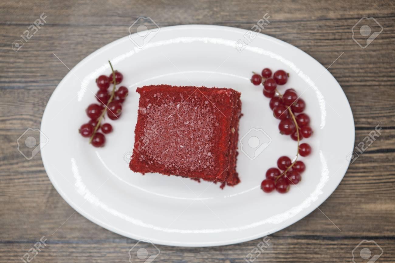 Roter Samt Frische Leckere Diat Kuchen Mit Roten Johannisbeeren Auf