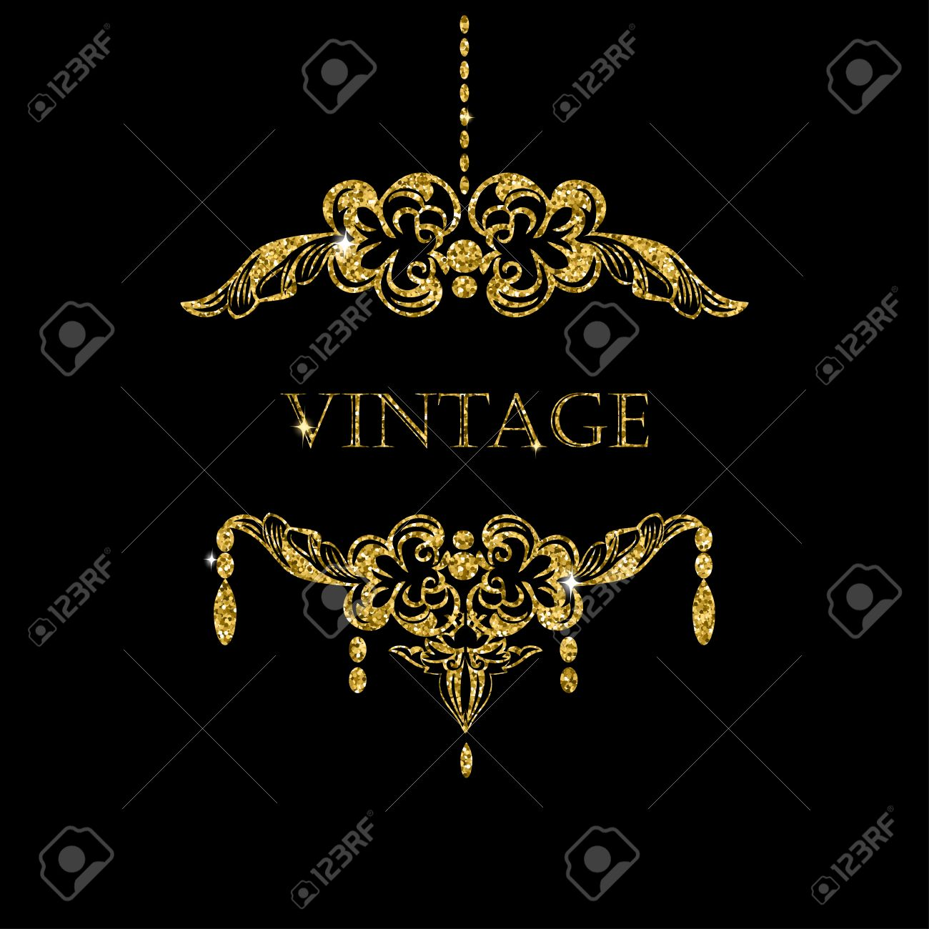 Gold Glitter Chandelier Silhouettewith Candles On Black Background Vintage Frame With Place For Your Text