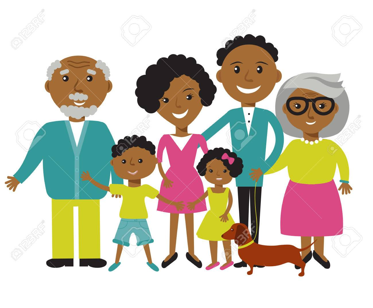 Happy African American family of six members: parents,their son and daughter, and grandparents with their dog. Vector illustration - 55096755