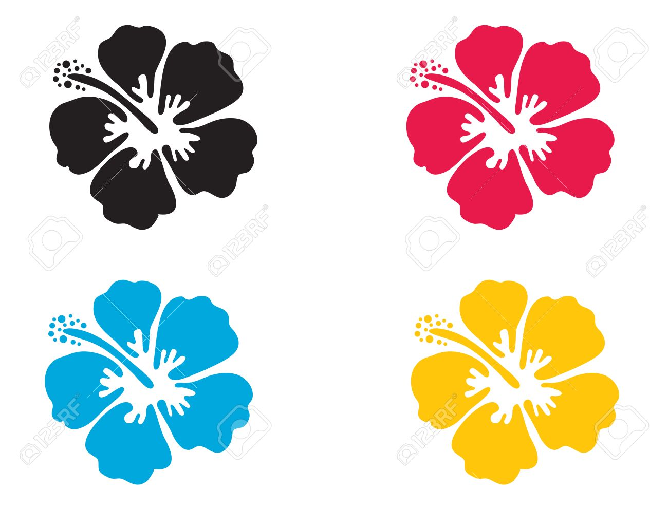 Hibiscus flower. Vector illustration. Hibiscus icon in 4 colors - blue, black, red and yellow. Summer tropical flower symbol - 58012547