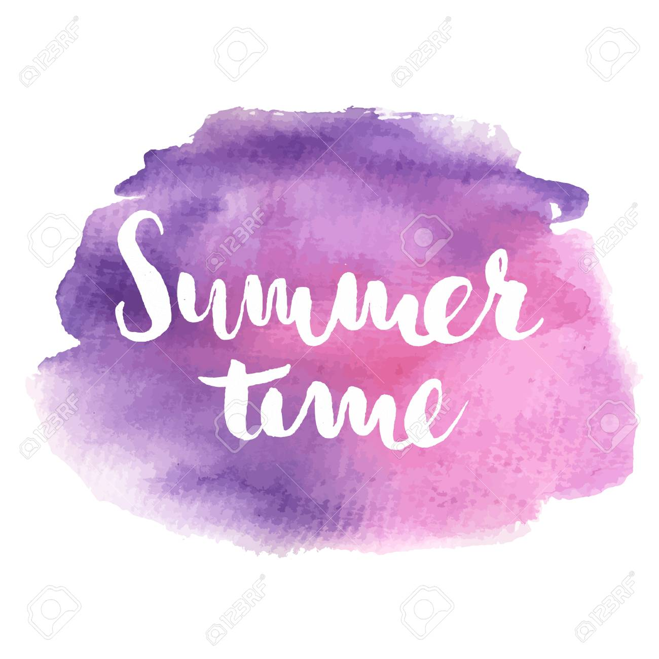 Hand Drawn Typographic Design Summer Time In Pink And Violet ...
