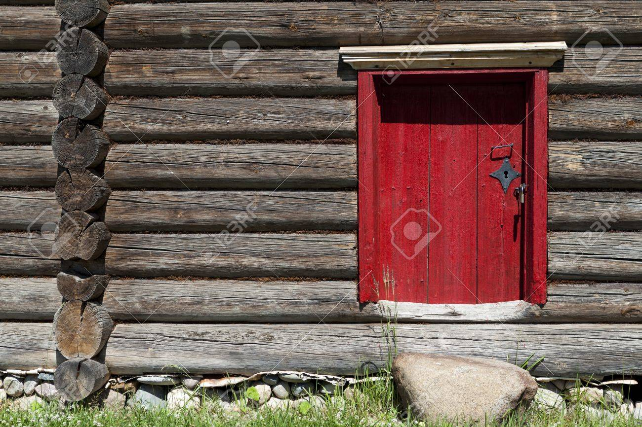 Beautiful Old Red Door On The Wooden Wall Of House Lovely Rustic Background