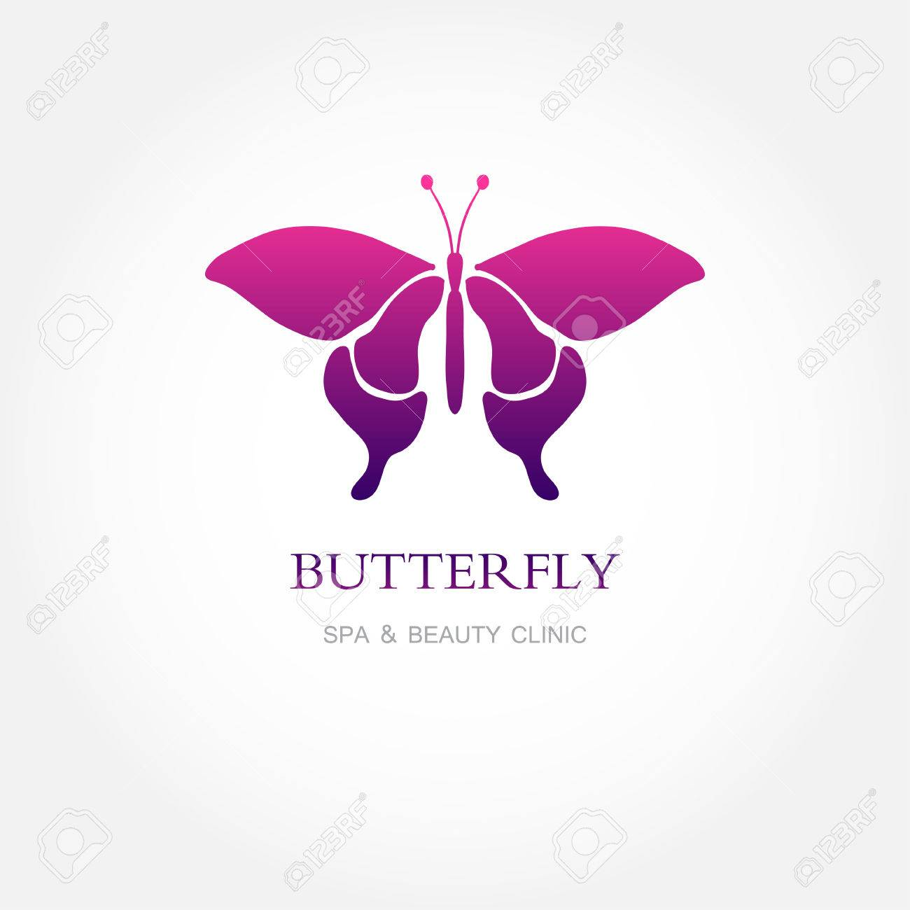 Butterfly Colorful Logo Template. Abstract Butterfly In Pink.. Stock ...
