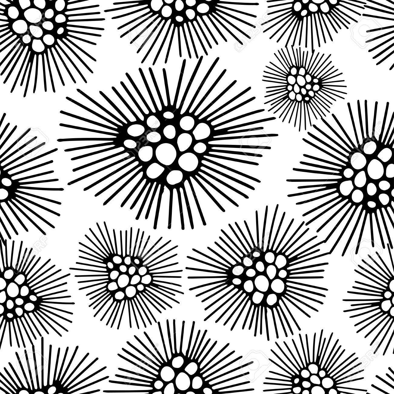 Modele Sans Couture Avec Fond Abstrait Fleur De Pissenlit Noir Et