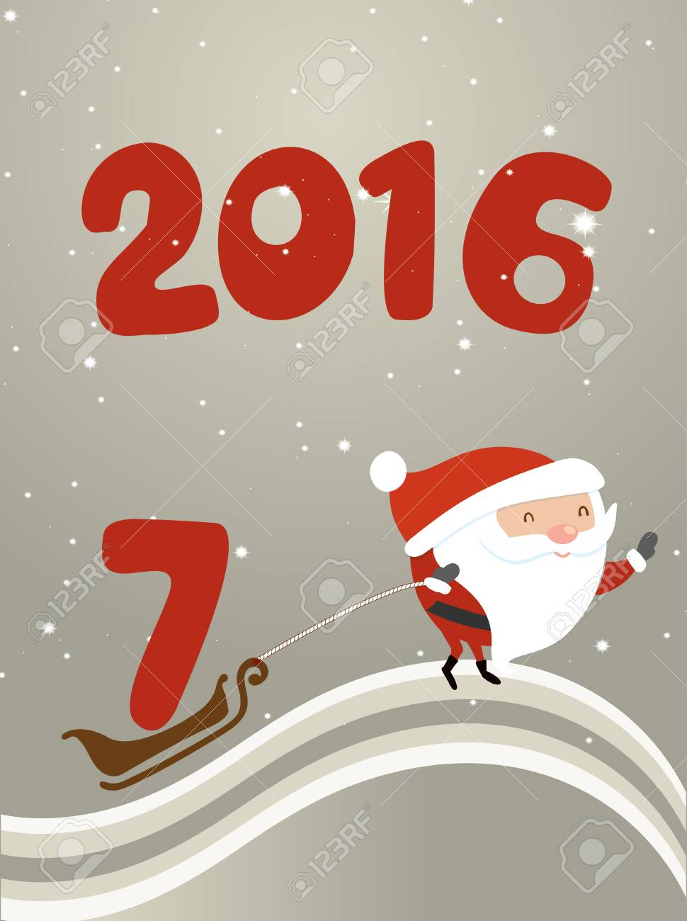 Santa Claus Is Driven By The Sleigh Number Seven Illustration