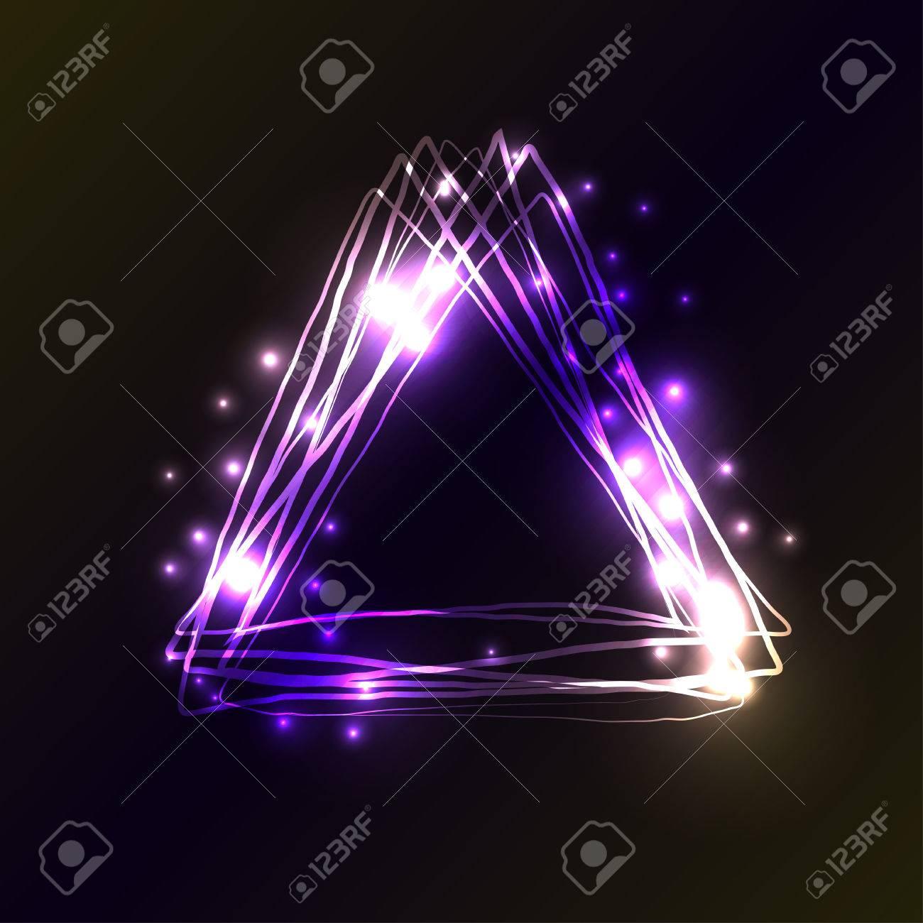 Violeta Y Azul Los Colores De Neón Del Triángulo De Fondo. Marco ...