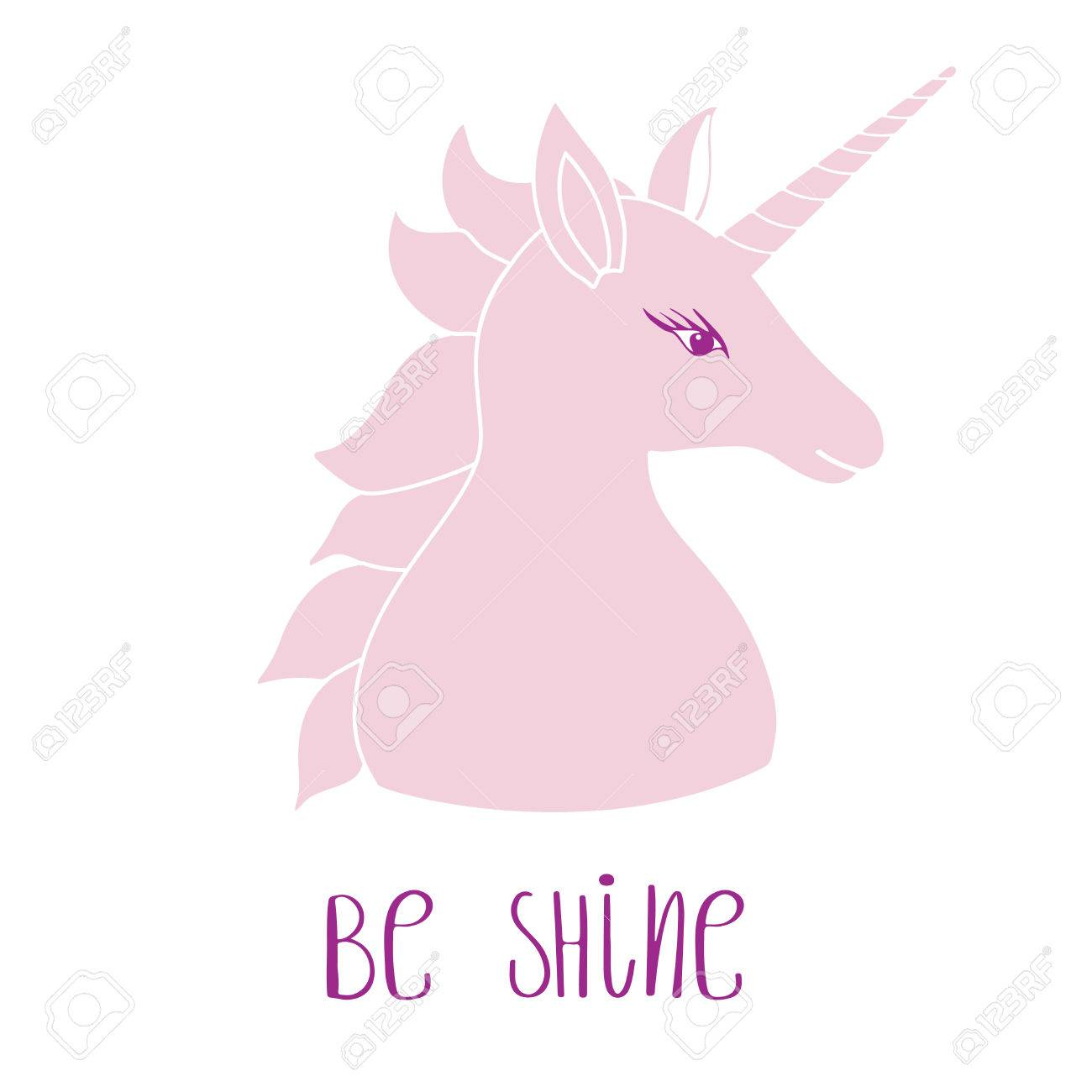 Cute Pink Unicorn With Inscription Be Shine Vector Illustration