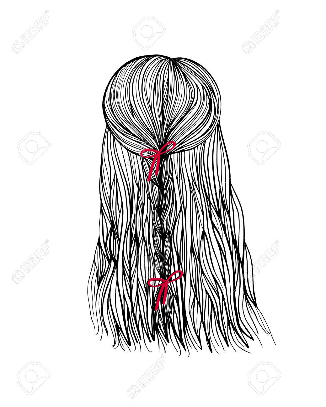 Woman Head Back View With Bride Hair And Red Boe Hand Drawn