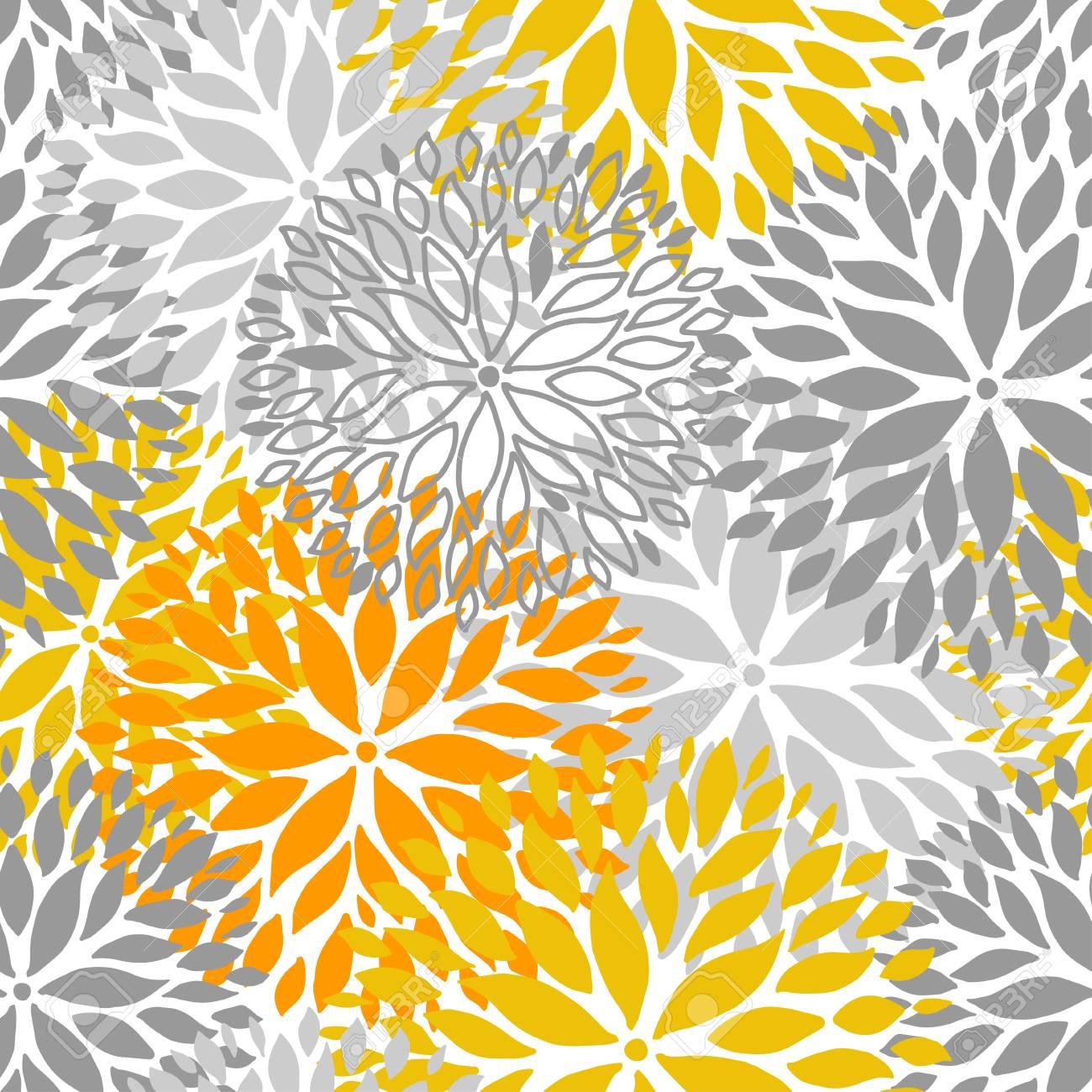 Orange and grey flower seamless pattern chrisanthemum flowers orange and grey flower seamless pattern chrisanthemum flowers background for web print textile mightylinksfo