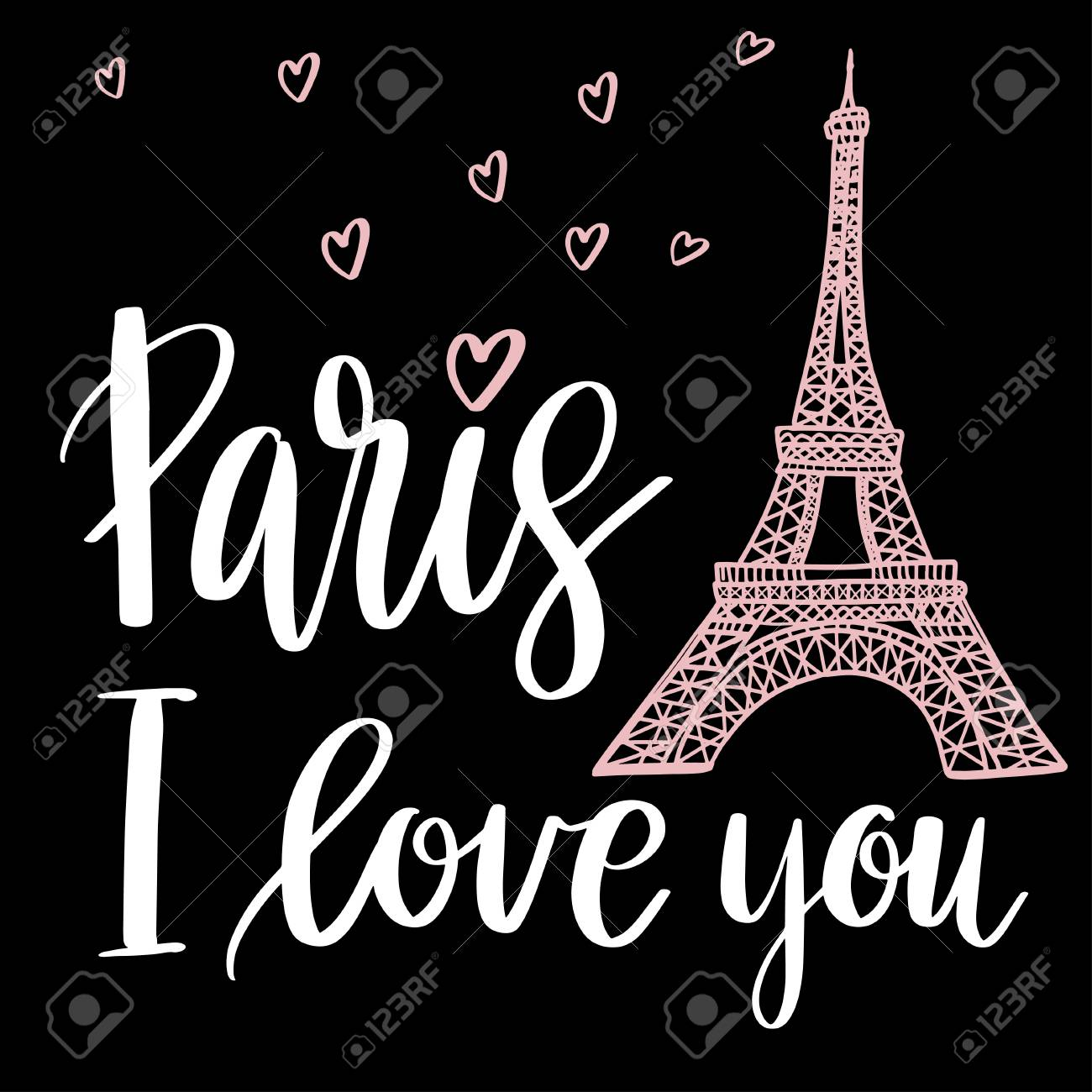Paris I Love You Postcard Phrase For Textile Poster Banner