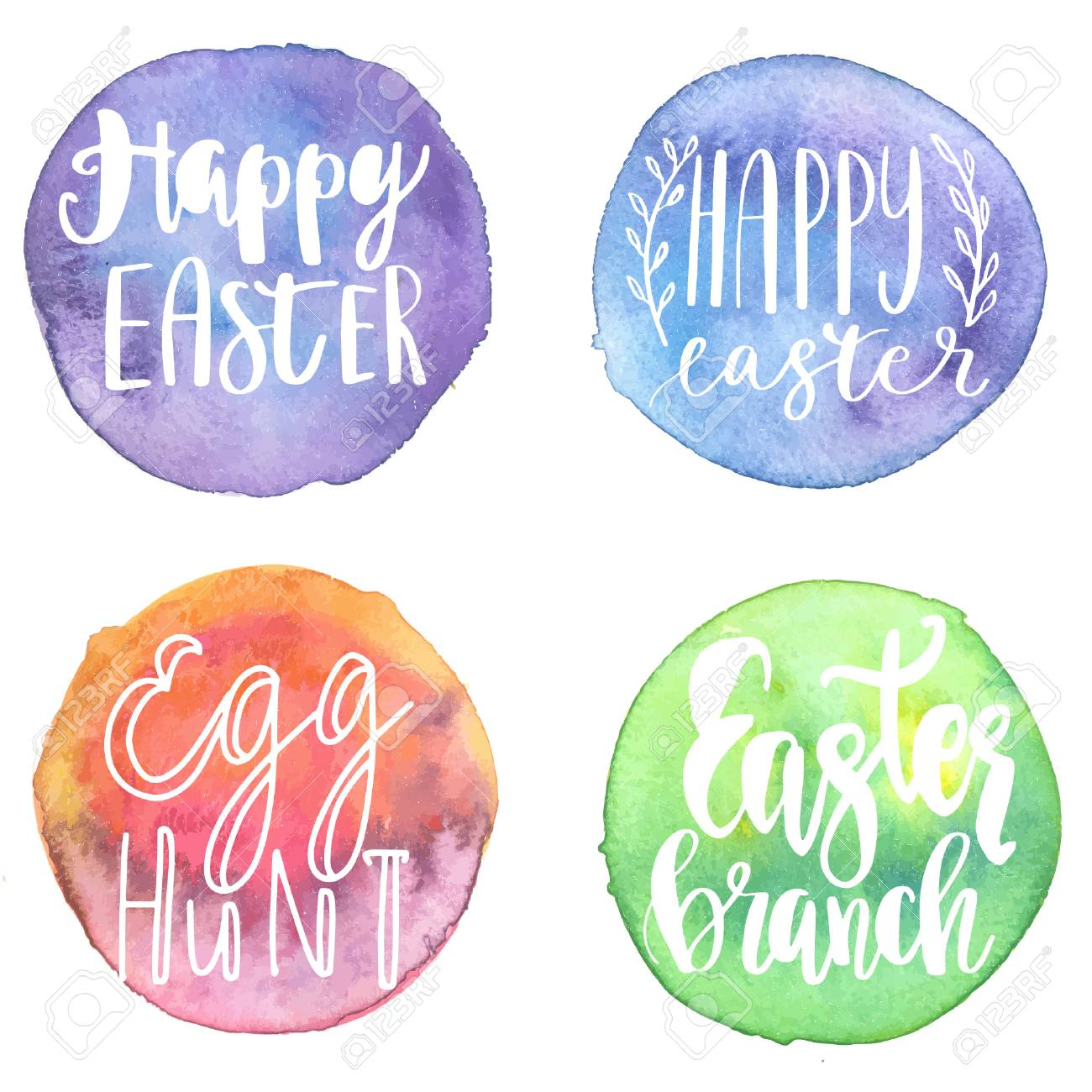 Happy Easter Lettering Labels Set, Calligraphi Quotes On ...
