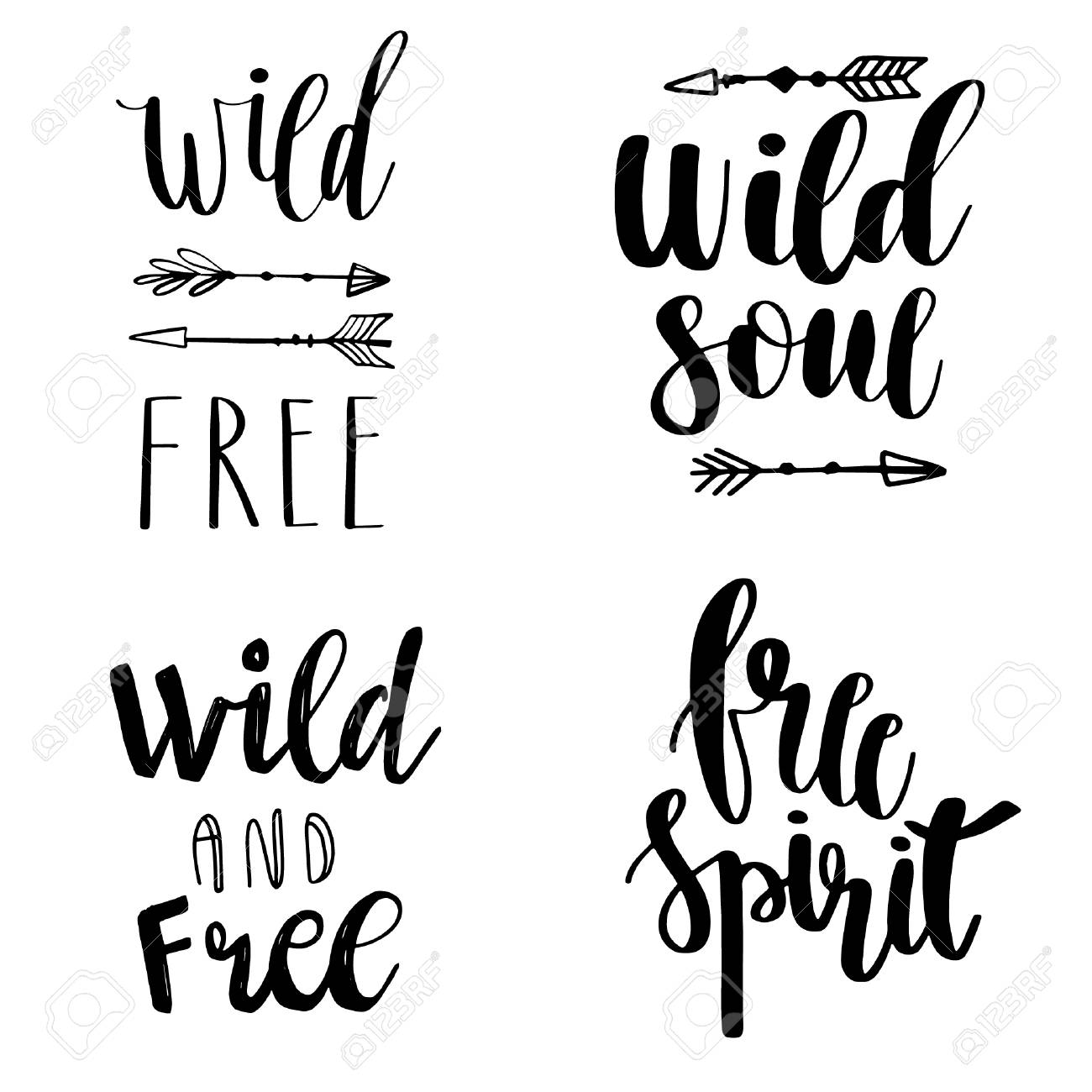 Set of Boho Style Lettering quotes and hand drawn elements. Wild..