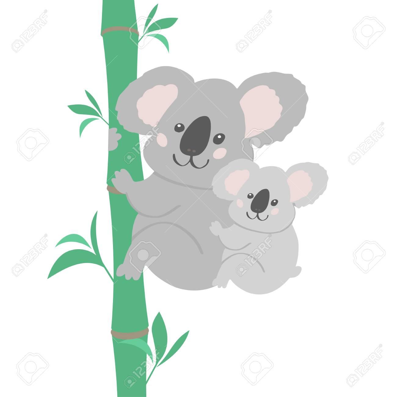 Vector Illustration Of Cute Bear Koala Family Small Koala Sitting