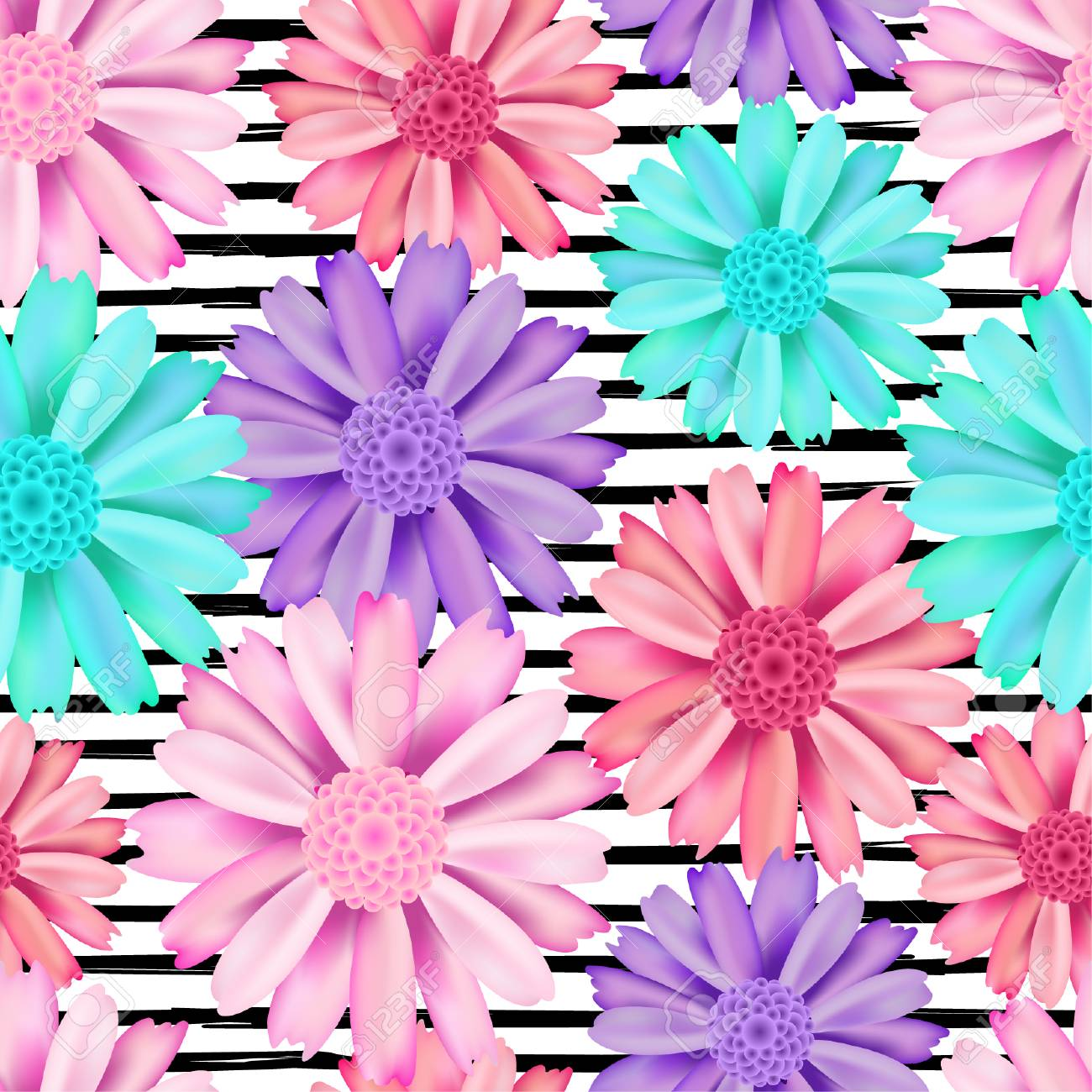 Pink Violet And Blue Flower Seamless Pattern Chrysanthemum