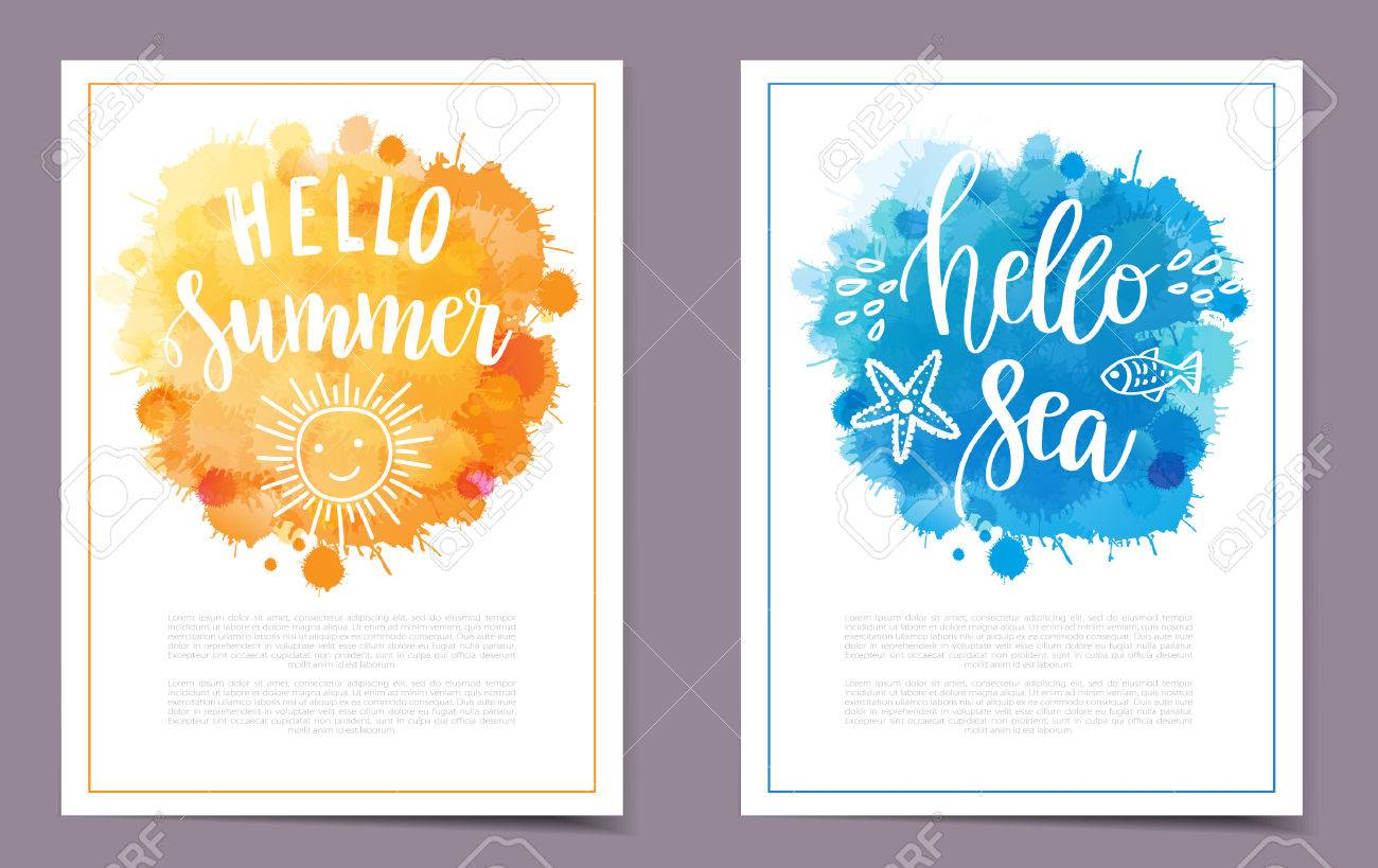 Vector Banners Set With Two Hand Drawn Lettering Quotes Hello