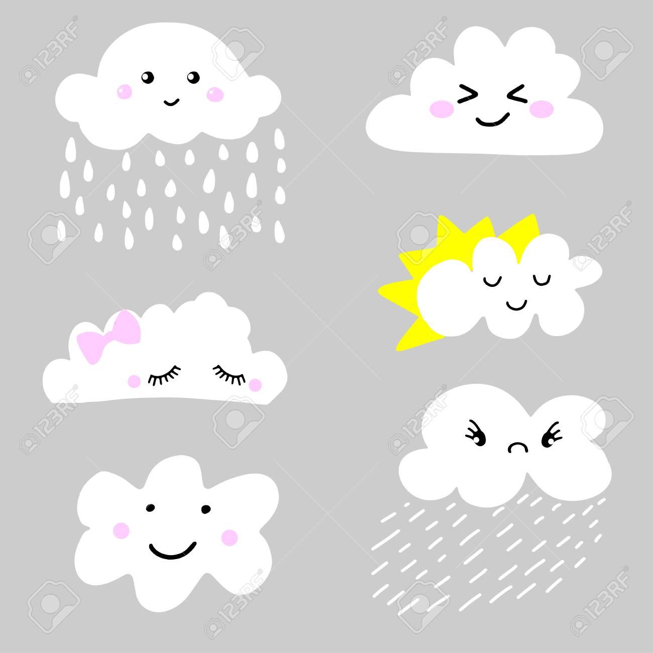 Grupo Bonito E Adorável Do ícone Das Nuvens Do Tempo Dos Desenhos Animados.  Pode Ser Usado Para Têxteis, Ptints, Roupas Infantis, Cartões, Cartazes E  Muito Mais Ilustraciones Vectoriales, Clip Art Vectorizado Libre