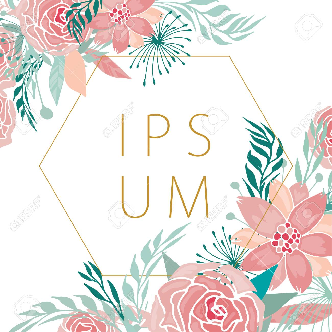 Modern Floral Background With Fantasy Roses And Peonies With