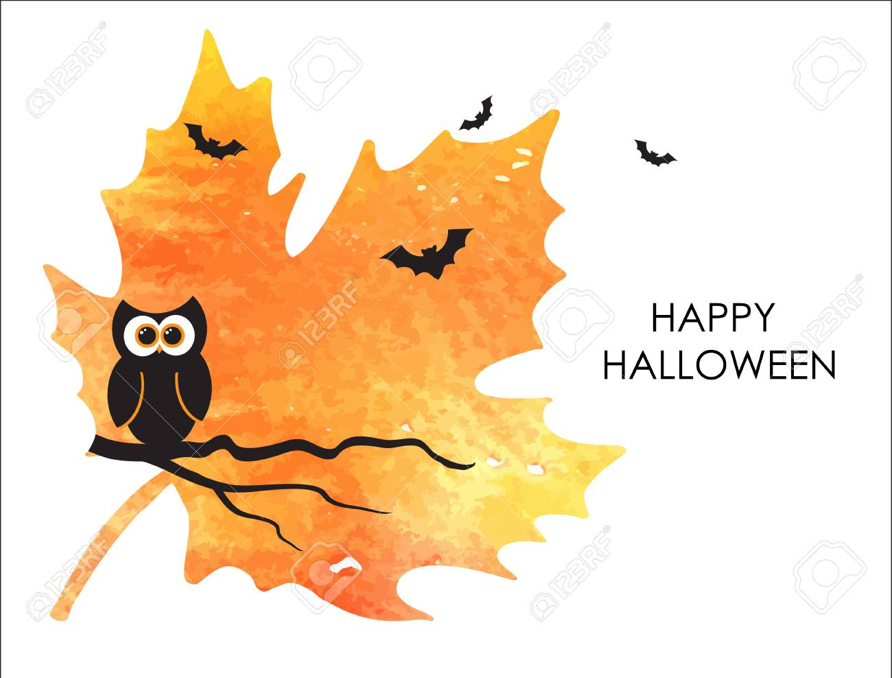 Cute Halloween Banner Or Card Design Small Owl And Bats On Watercolor Painted Orange Maple