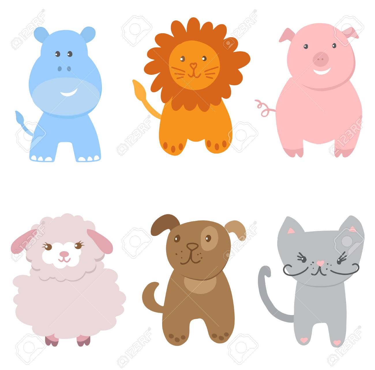 Cute Vector Set Of Small Baby Animals Cat Dog Pig Lion