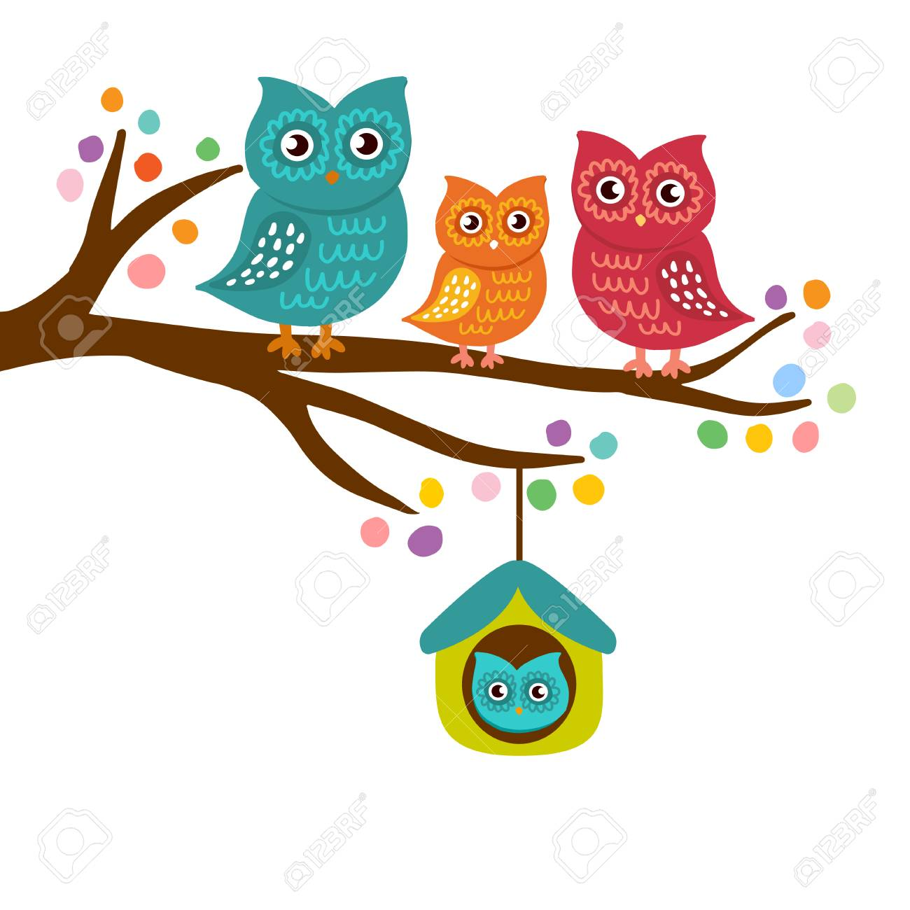 Owls Family Sitting On A Branch Mother Father Son And Dauther