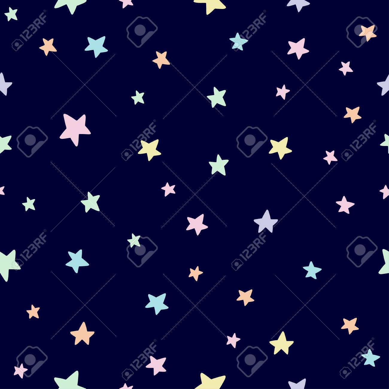 Cute Star Seamless Pattern In Pastel Colors On Dark Background Baby And Child Clothing