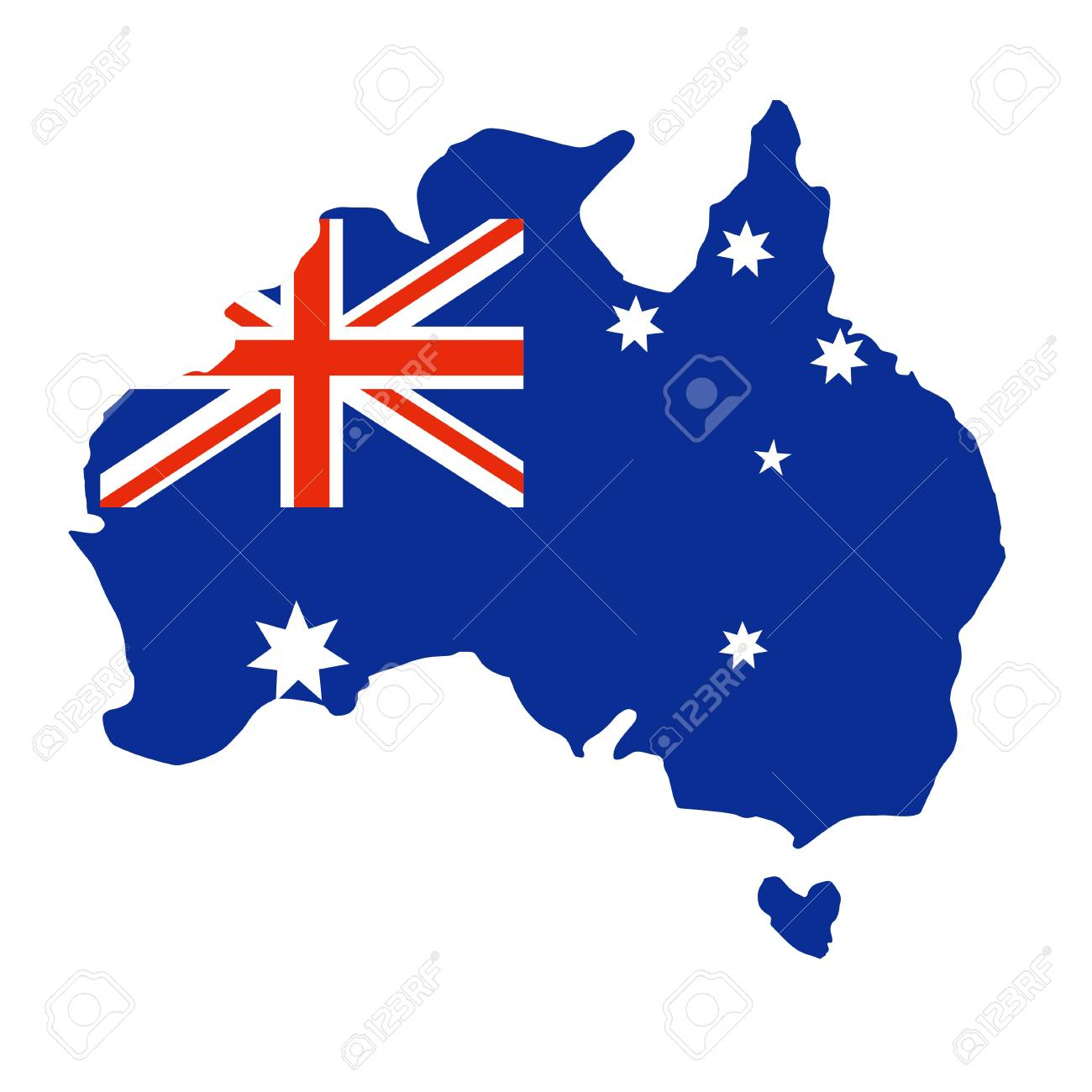 Australia Map Shape.Map Of Australia In The Shape And Colors Flag Of Australia Can