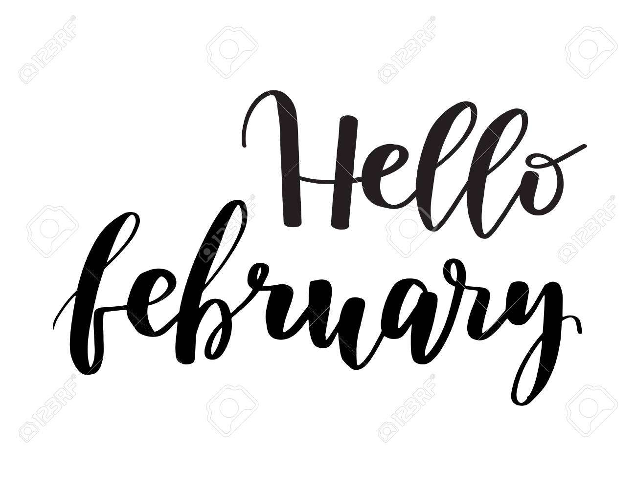 Hello February brush lettering ink inspirational quote  Handwritten