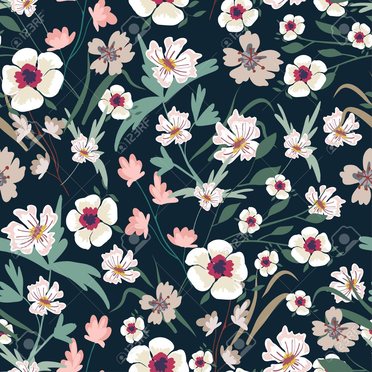 Seamless Pattern With Small Flowers On A Dark Background Modern