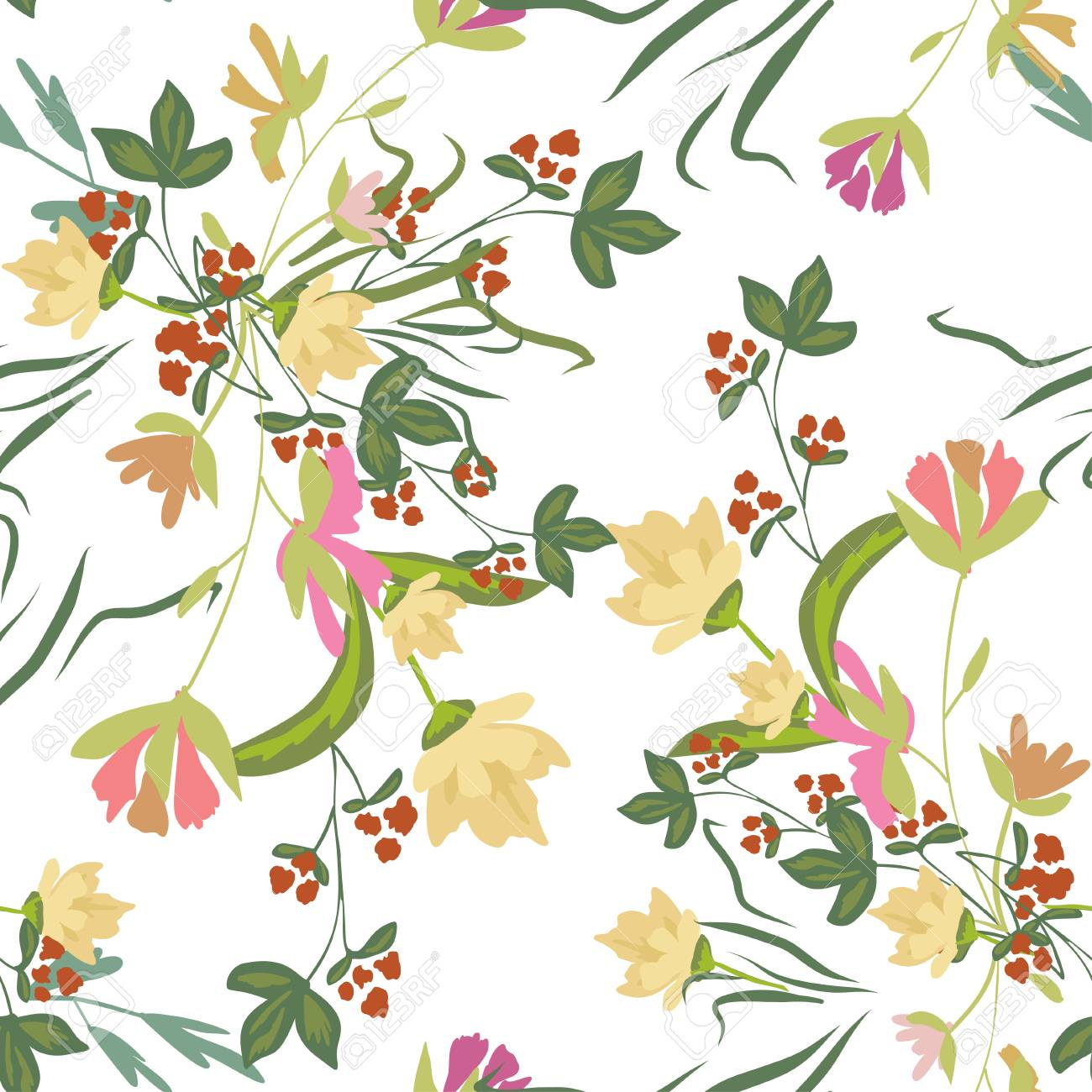 Seamless Pattern With Small Flowers On A White Background Modern