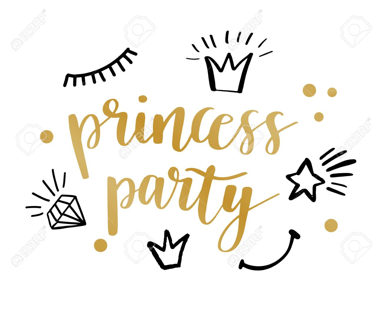 Princess Party Bridal Shower Birthday Invitation Card Design With Black Lettering Quote Typography Stock Vector