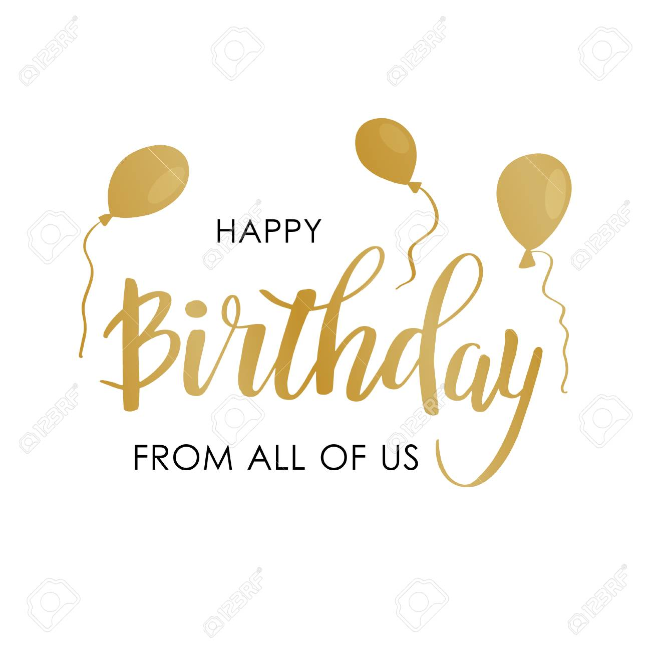 Happy Birthday Greeting Card With Lettering Design Calligraphy Text From All Of Us