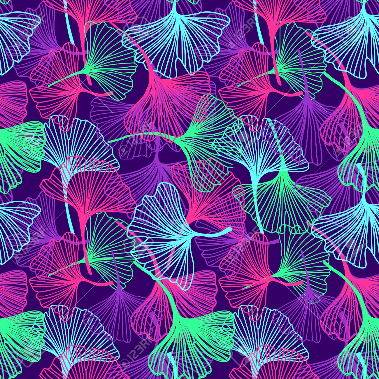 Floral Flowers And Leaves Background In Neon Colors Bright Print