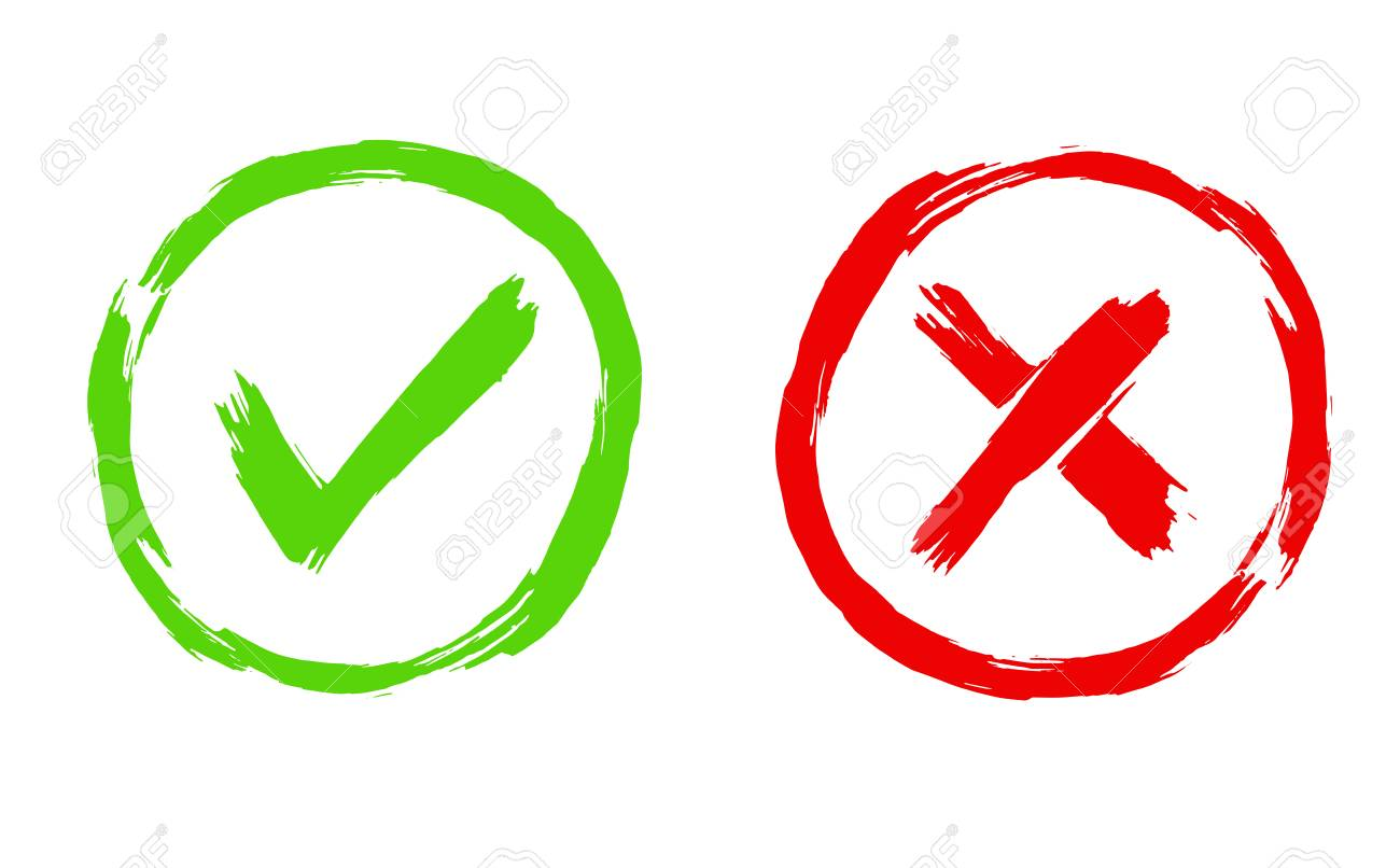 Brush painted Tick and Cross signs. YES and NO icons for vote in circle. Vector illustration of green and red symbols isolated on white background - 126239978