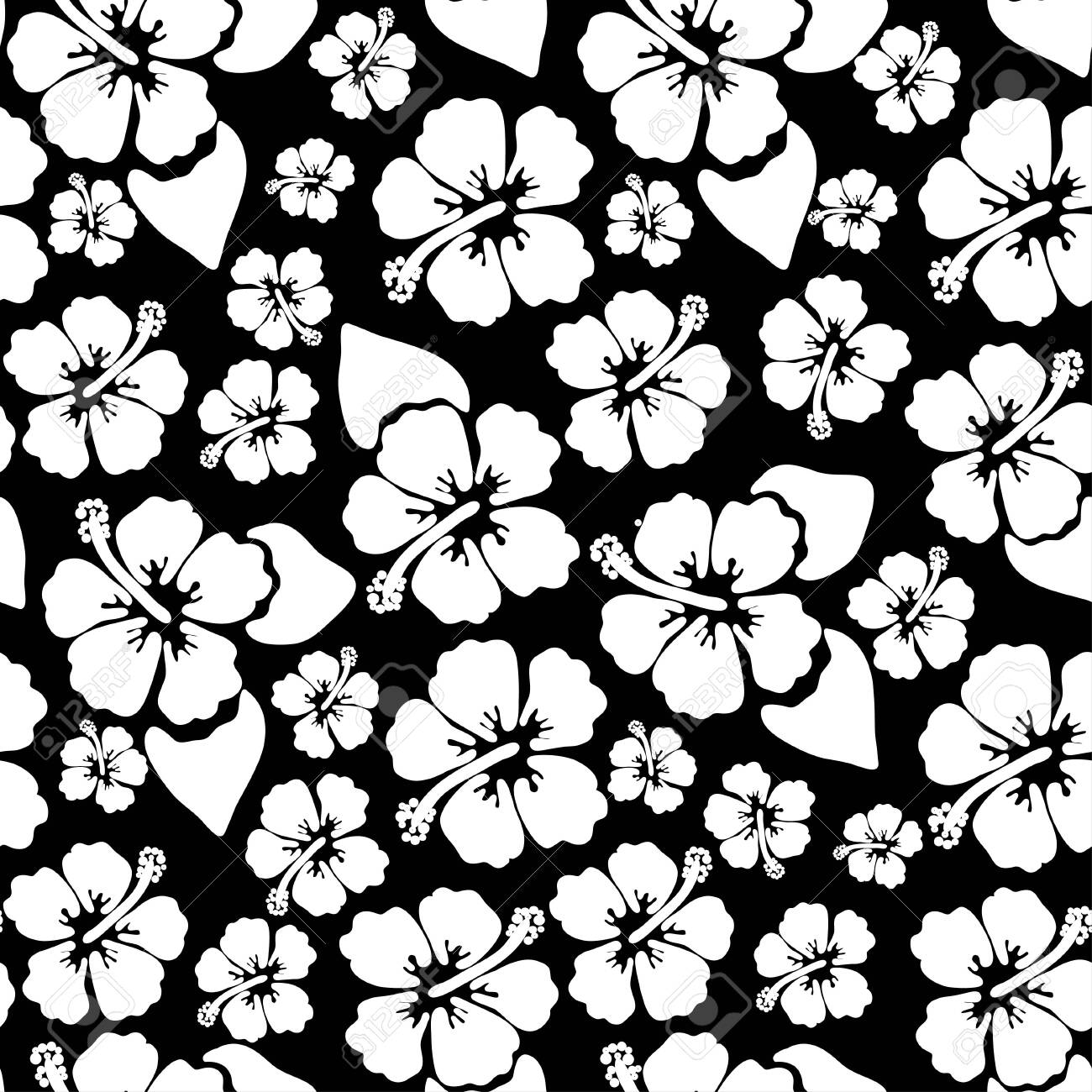 d0b1f205132d Hibiscus seamless background. Aloha Hawaiian shirt design. Vector  illustration for clothing, textile in