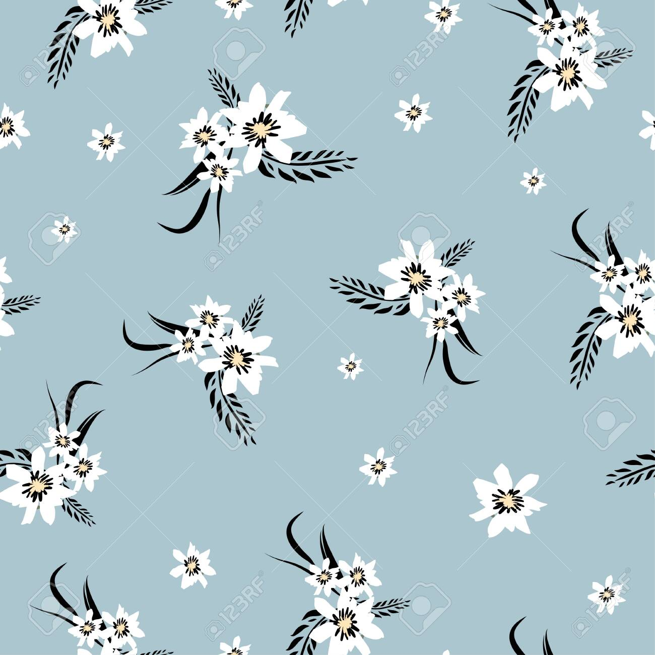 4 3dRose ct/_120214/_1 Delicate White Flowers on Pale Blue Shabby Chic Vintage Floral Pattern Pastel Pretty Victorian Ceramic Tile