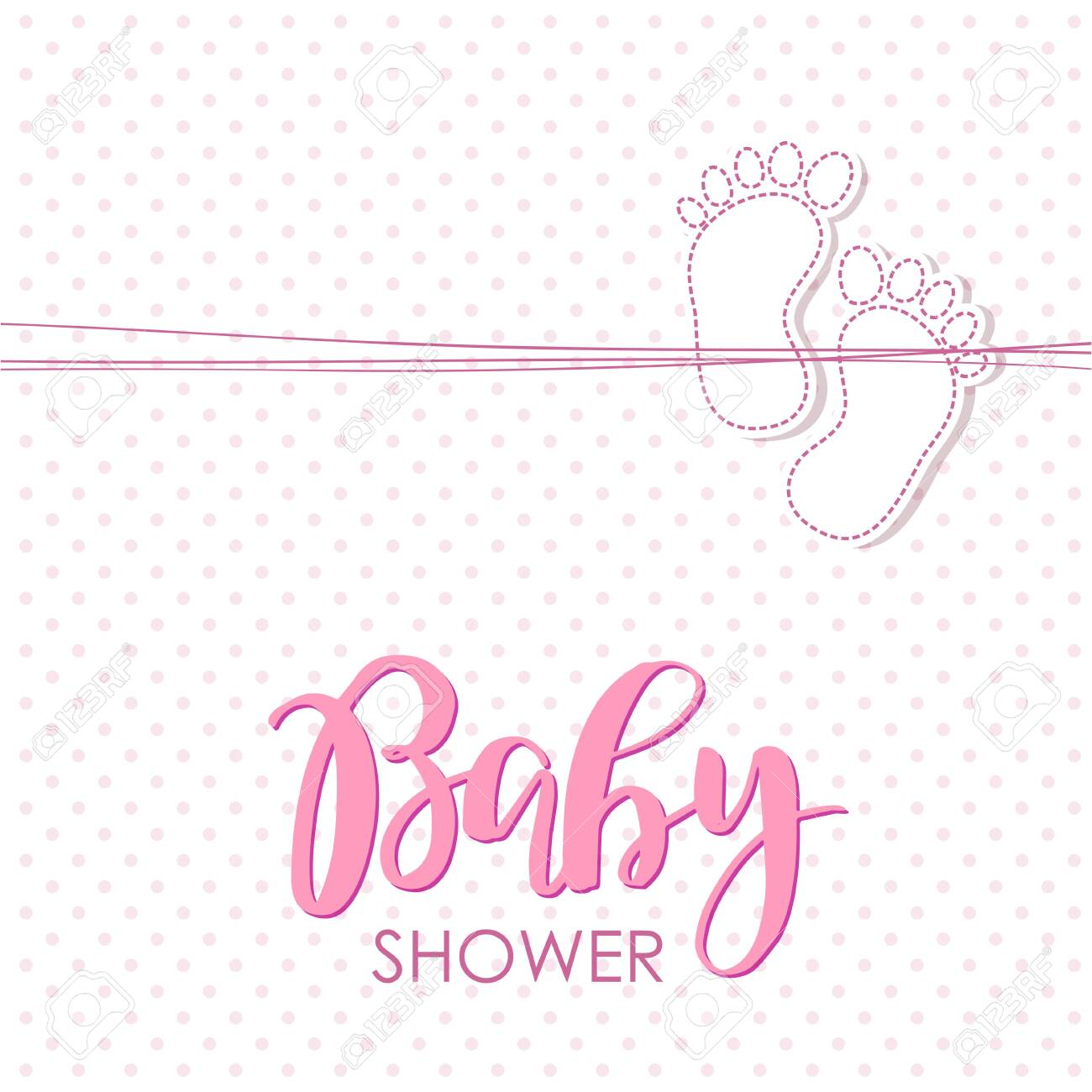 Baby Arrival Card With Small Foot Print Design Template For