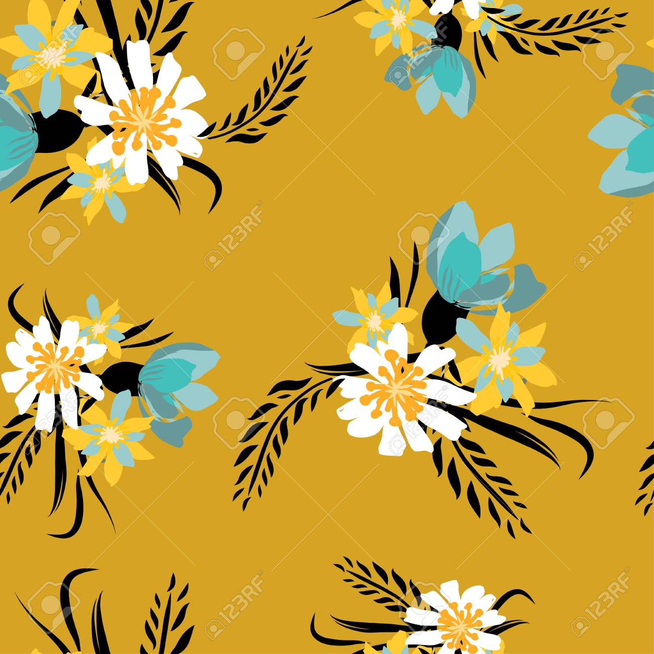 Seamless Pattern With Small Flowers On A Dark Yellow Background