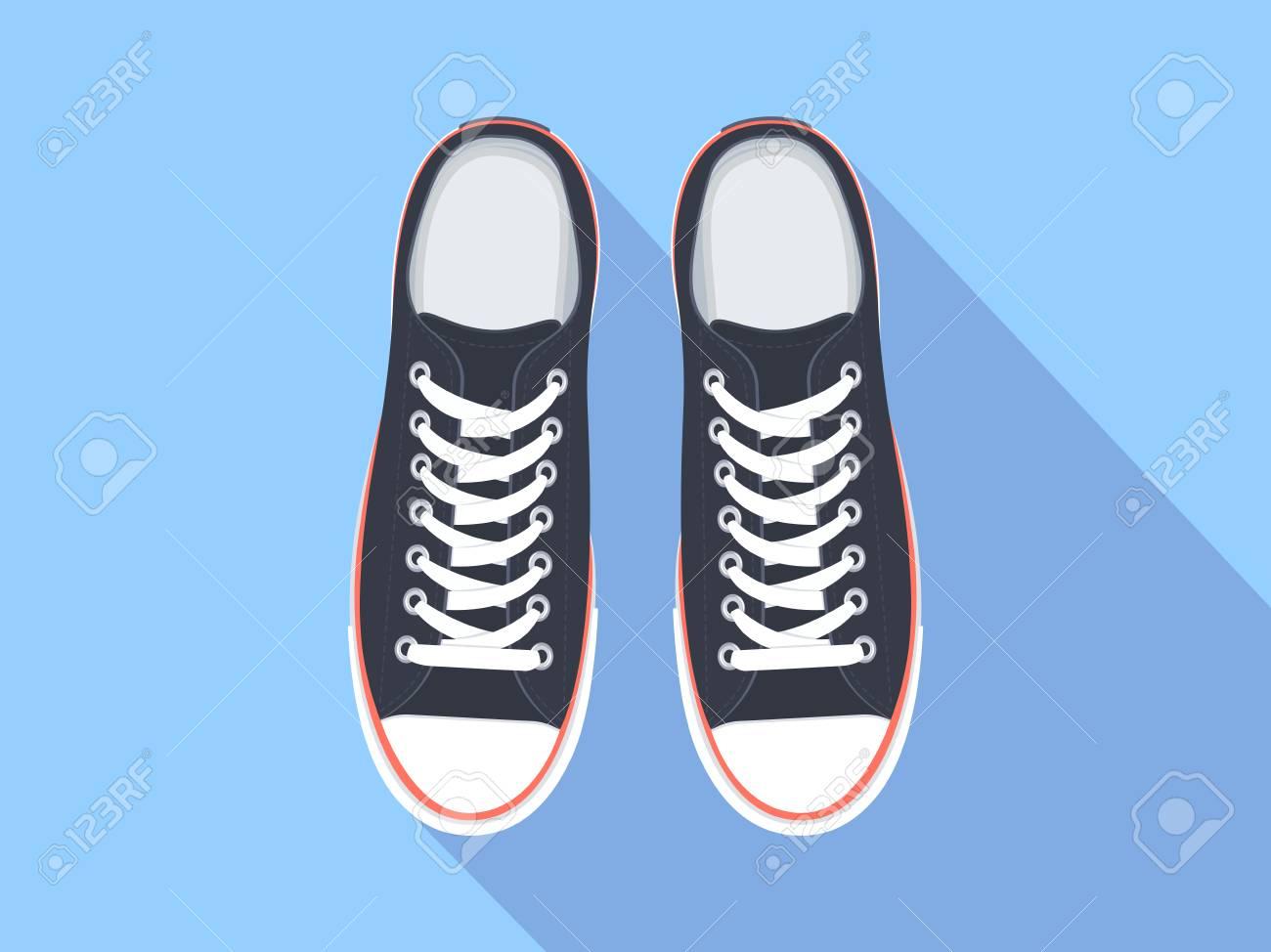 new concept 4594f db7a3 De Sport Chaussures Vue Plat Illustration Dessus Vector Sneakers wS1q5