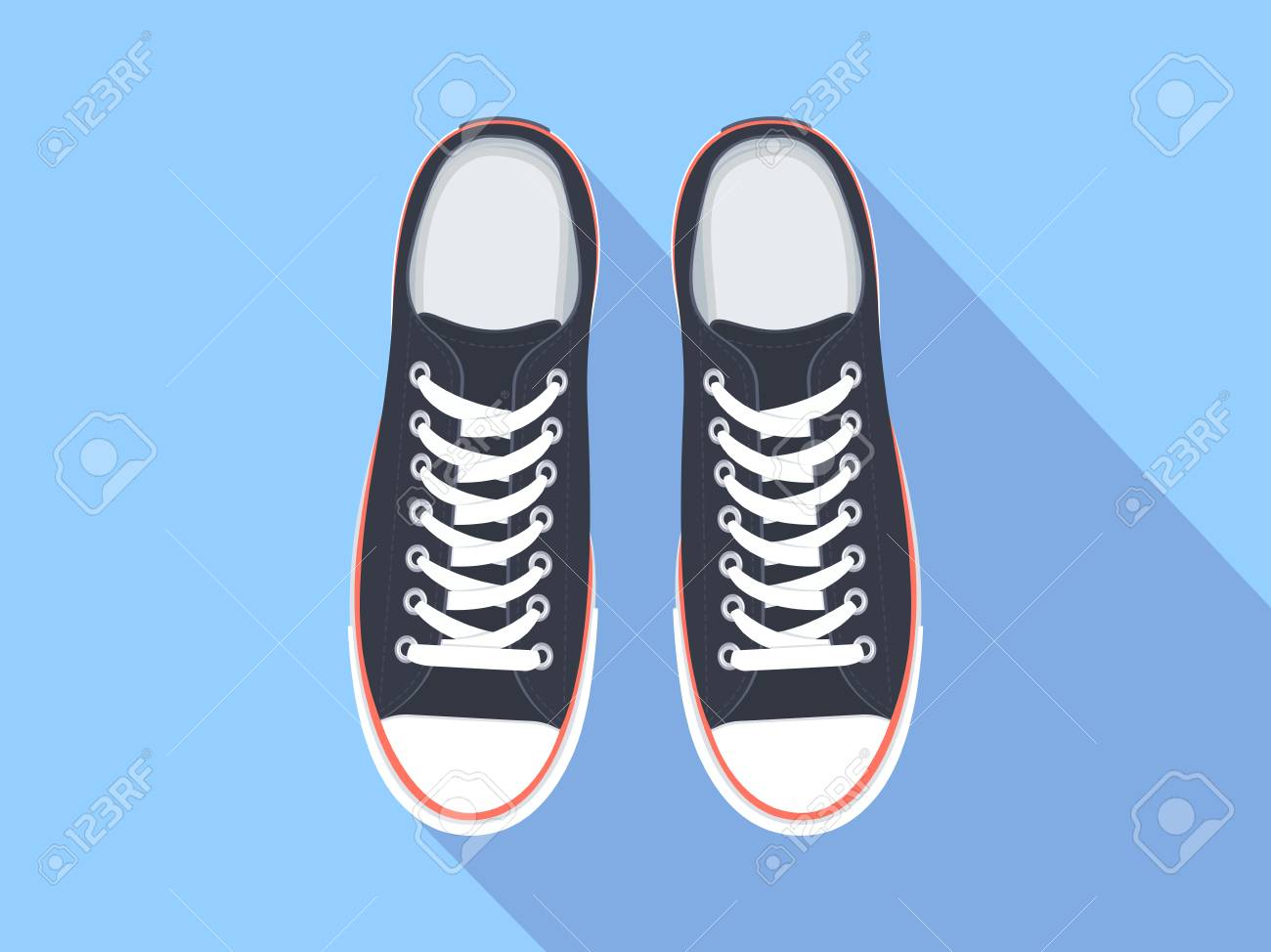 Sneakers top view. Flat sport shoes vector illustration. Isolated realistic keds - 90041084
