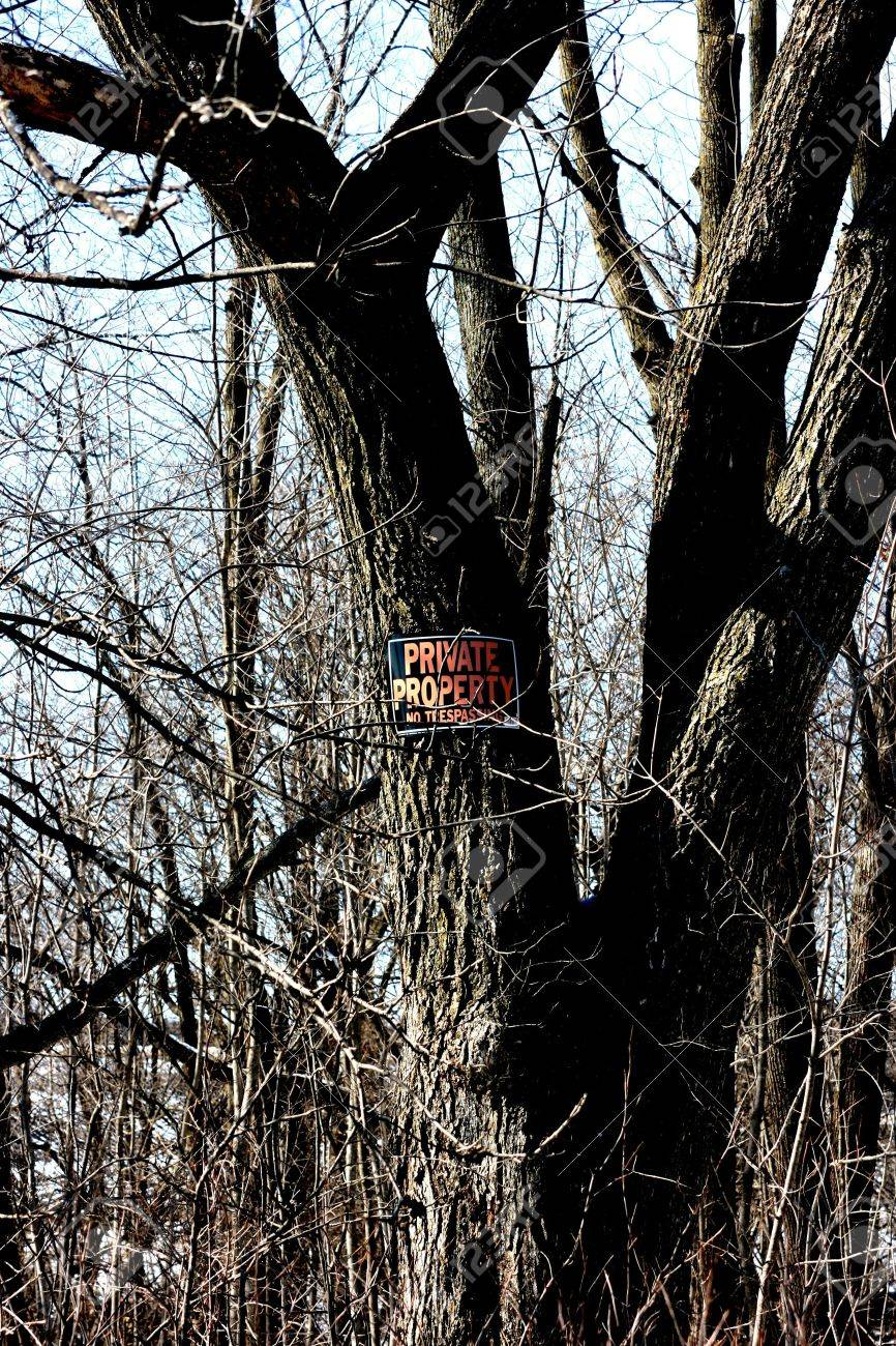 Private property sign posted on a tree to warn trespassers. Stock Photo - 2956949