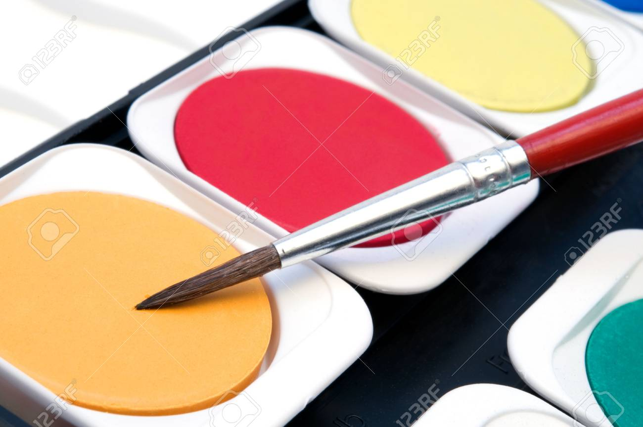 colorful watercolour and red brush Stock Photo - 3437507