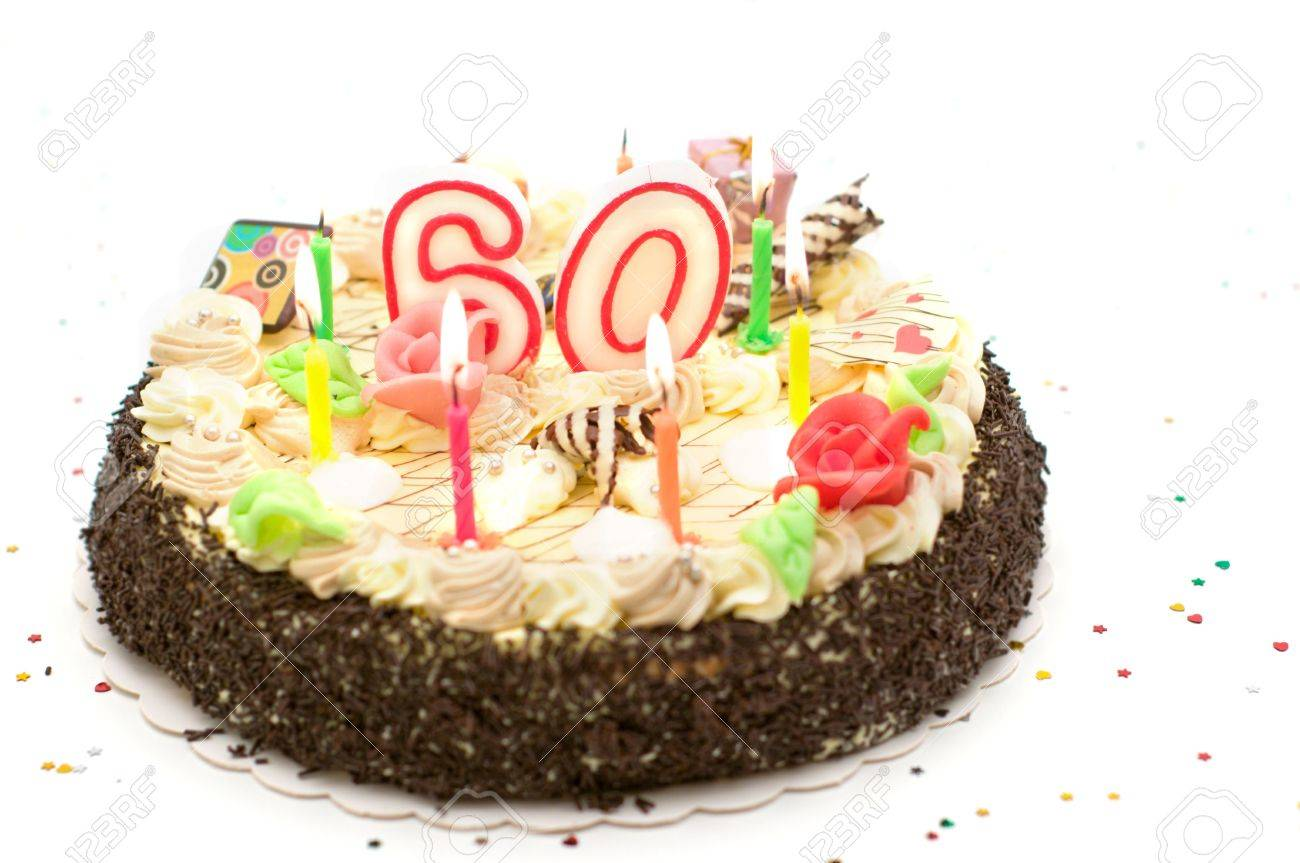 Birthday Cake For 60 Years Jubilee On White Background With Glitter Stock Photo