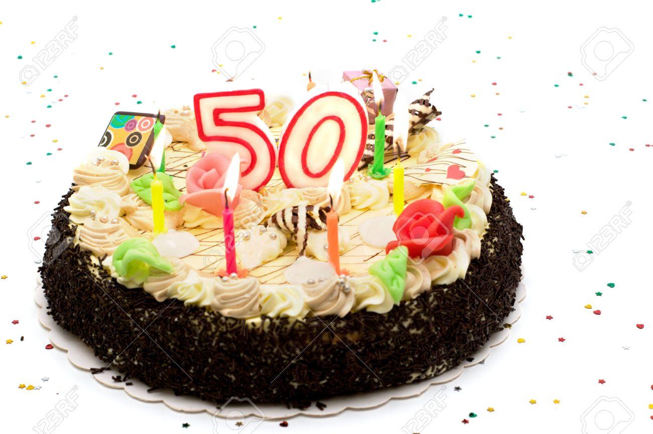 Geburtstagskuchen Fur 50 Jahre Jubilaum Auf Weissem Hintergrund Mit