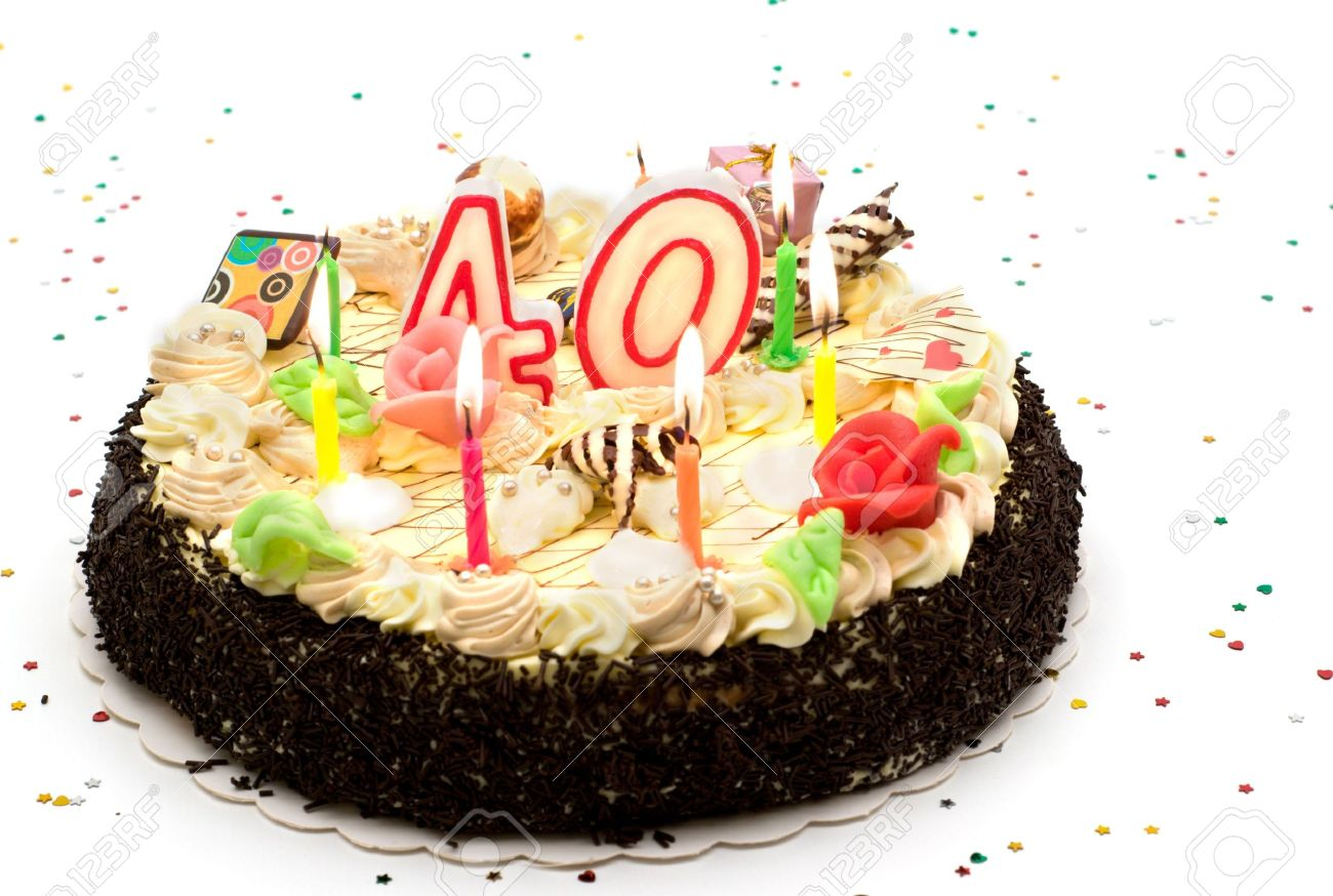 Birthday Cake 40 Years With Candles And Glitter Stock Photo Picture