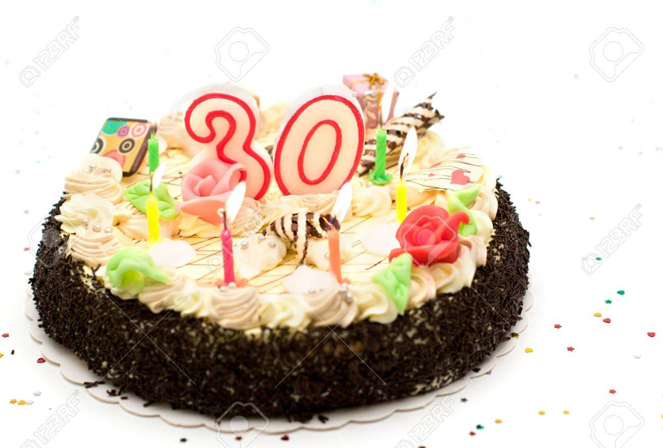 Birthday Cake 30 Years With Candles And Glitter Stock Photo Picture