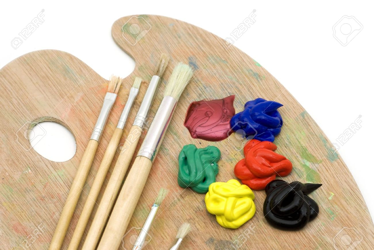 painting brushes and palette on white background Stock Photo - 3957402