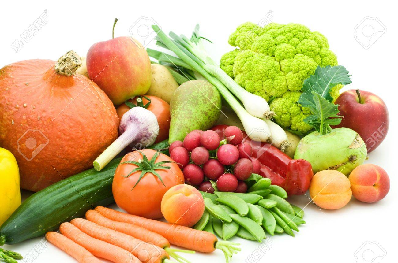 fruits and vegetables on white background Stock Photo - 6185467