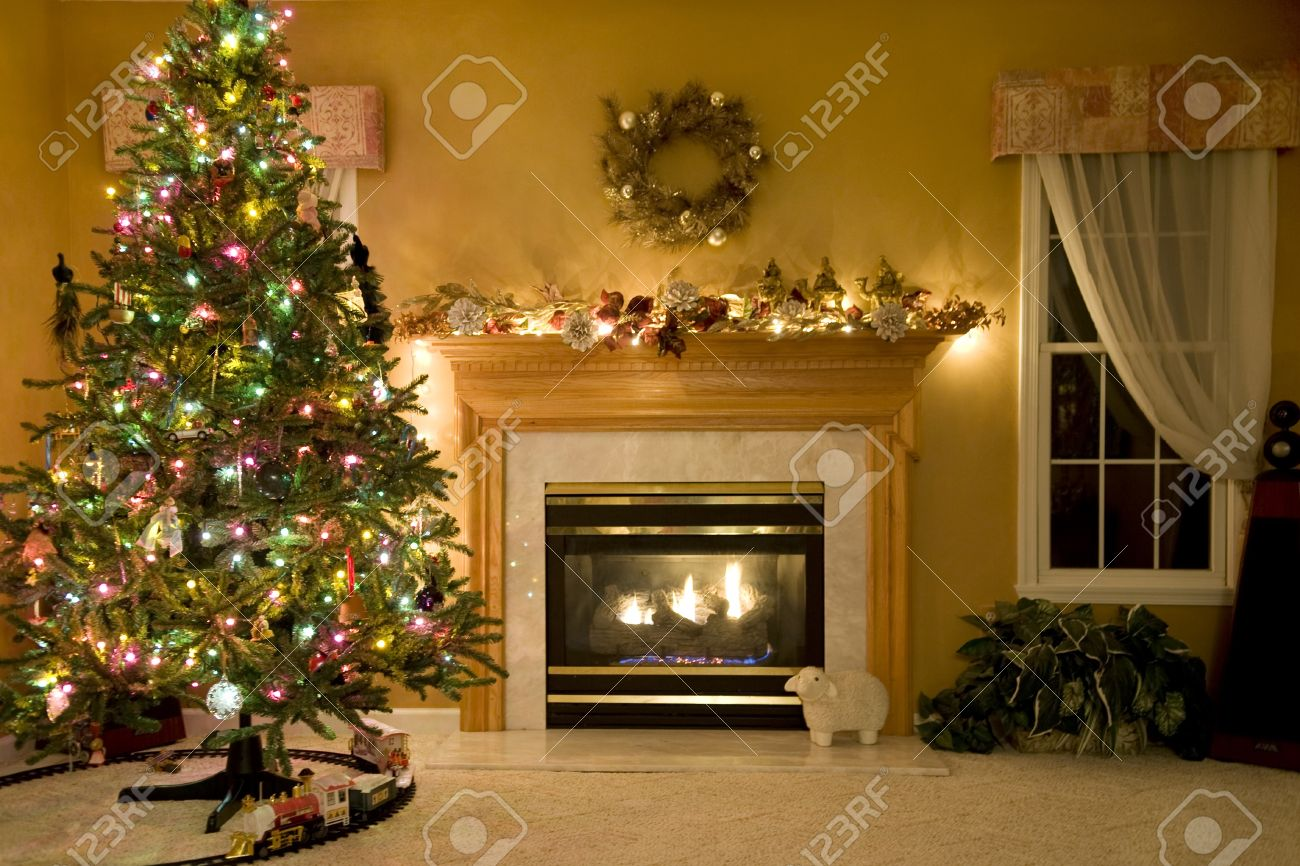Christmas Living Room christmas living room stock photo, picture and royalty free image