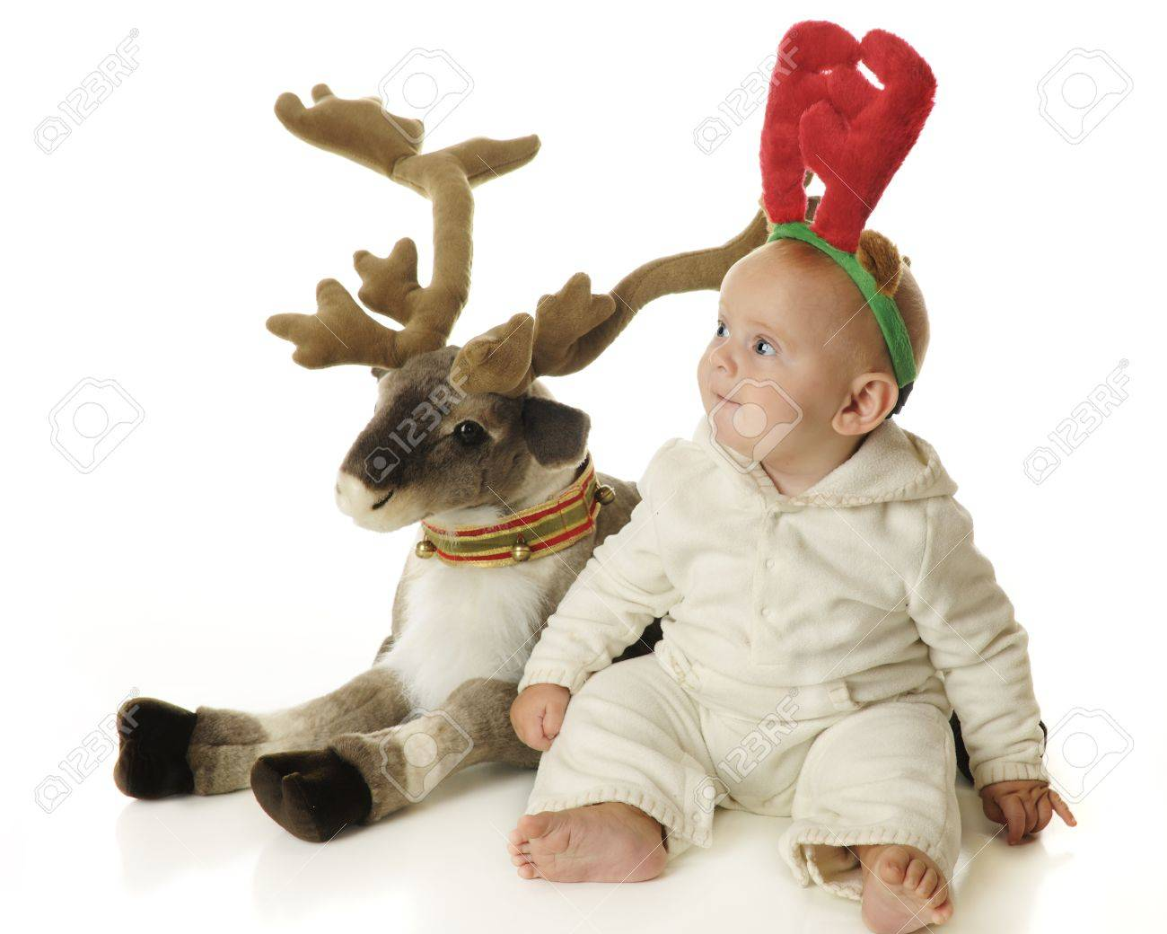 White Baby Reindeer An adorable baby boy wearing