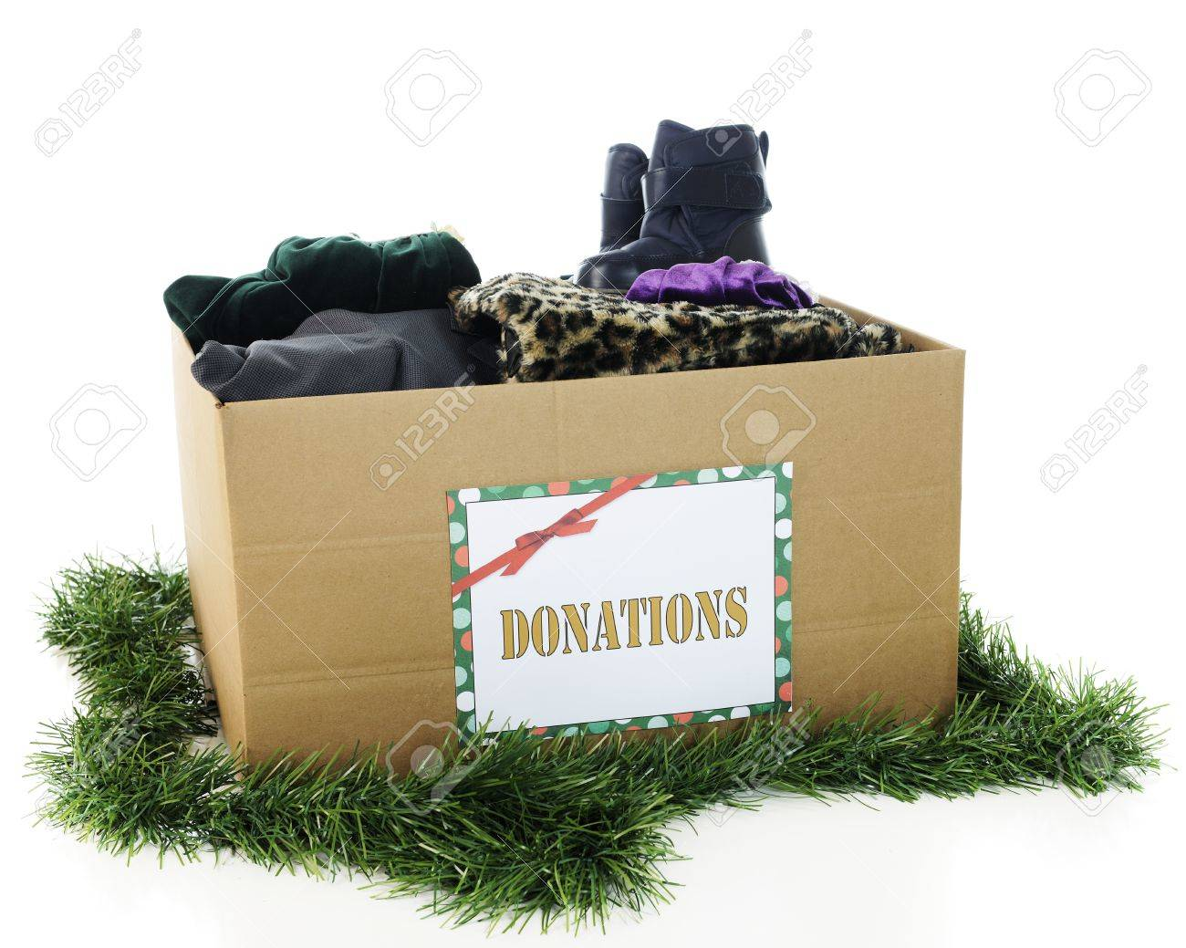 A large corrugated box with a holiday Donation sign. Stock Photo - 15977801